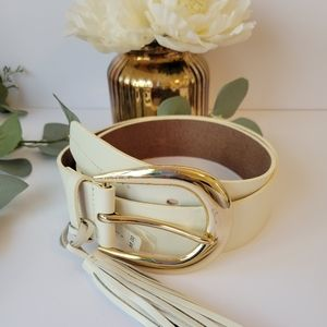 Michael Kors belt with gold buckle and tassel